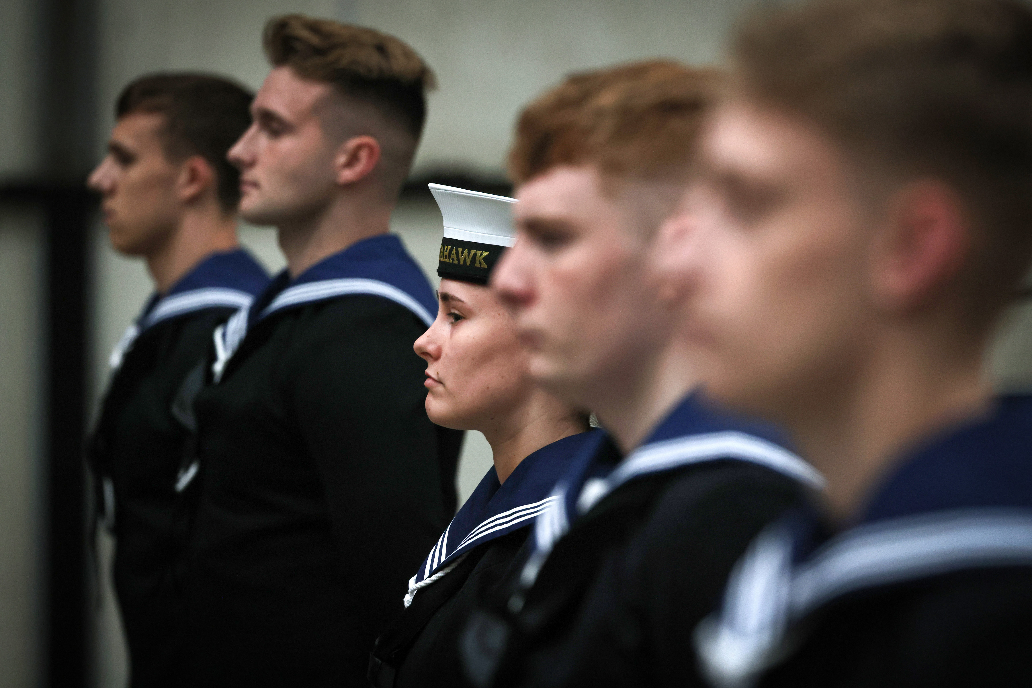 Newly-qualified aircraft handlers form up for their passing parade at RNAS Culdrose